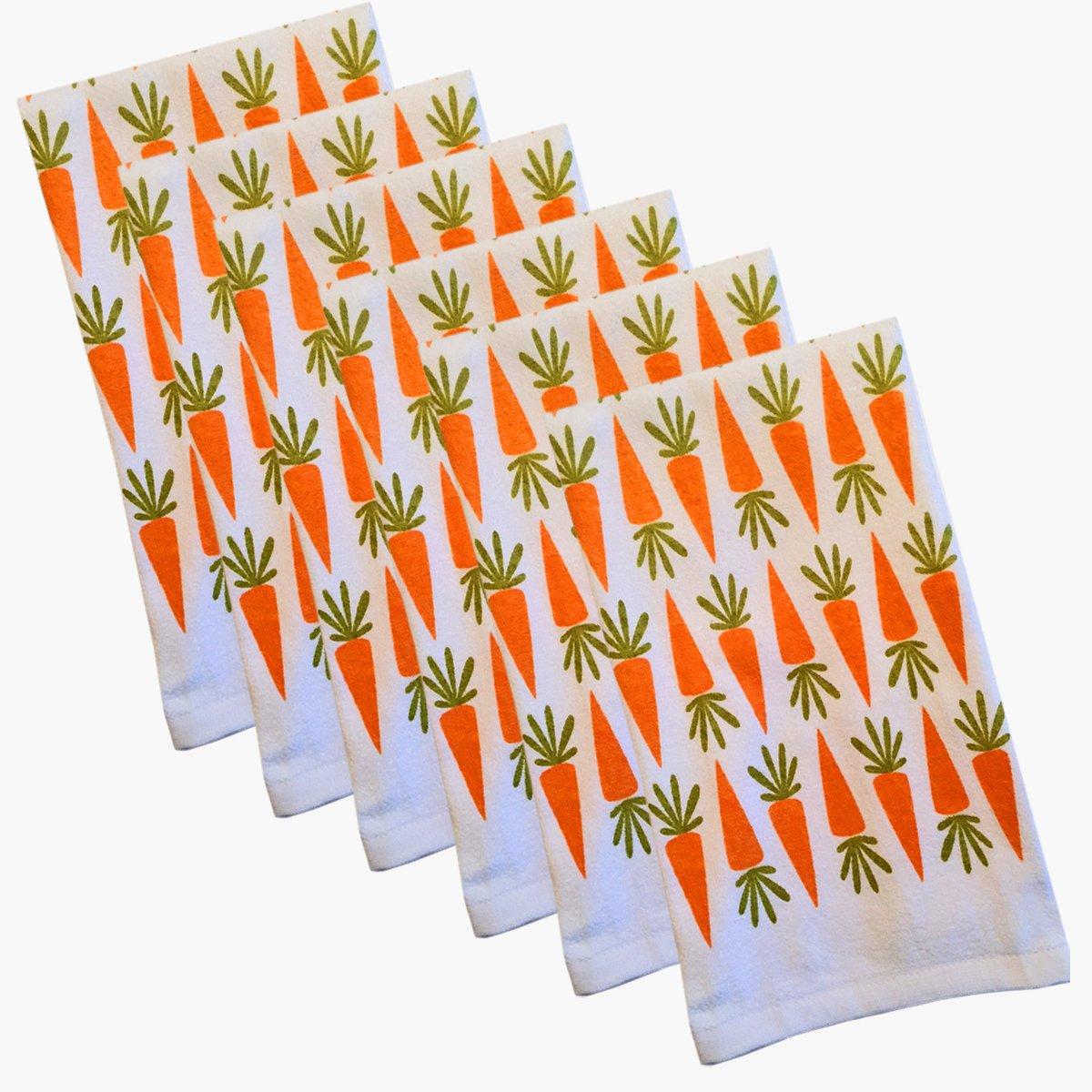 Carrot Stripe 100% Cotton Kitchen Dish Towel - 6 Piece Set