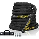 "POWER GUIDANCE Battle Rope - 1.5"" Width Poly Dacron 30/40/50ft Length Exercise Undulation Ropes - GYM Muscle Toning Metabolic Workout Fitness Exercise (9m)"