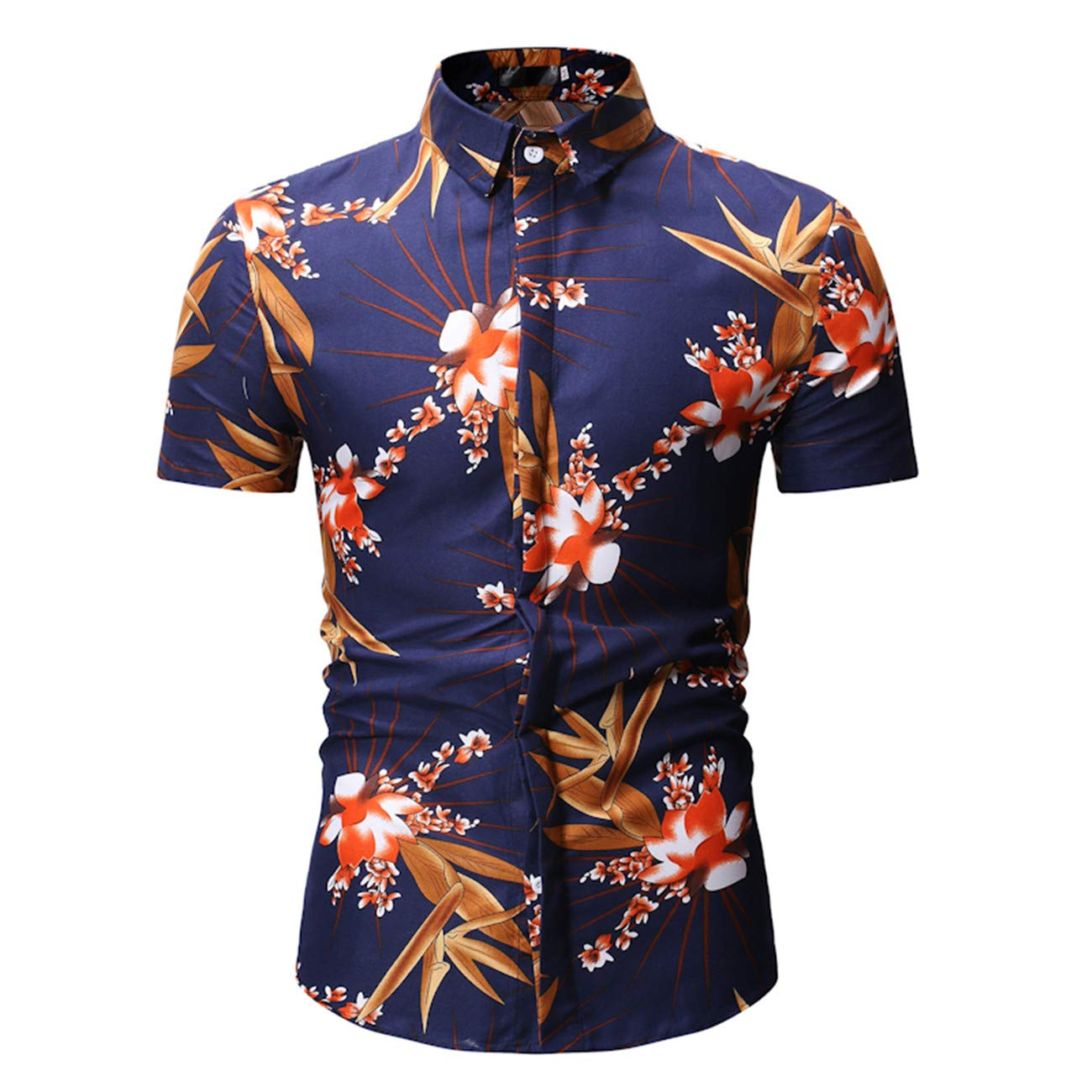 Mens Short-Sleeved Leisure and Fashion3 Color Button Down Floral Printed Shirt