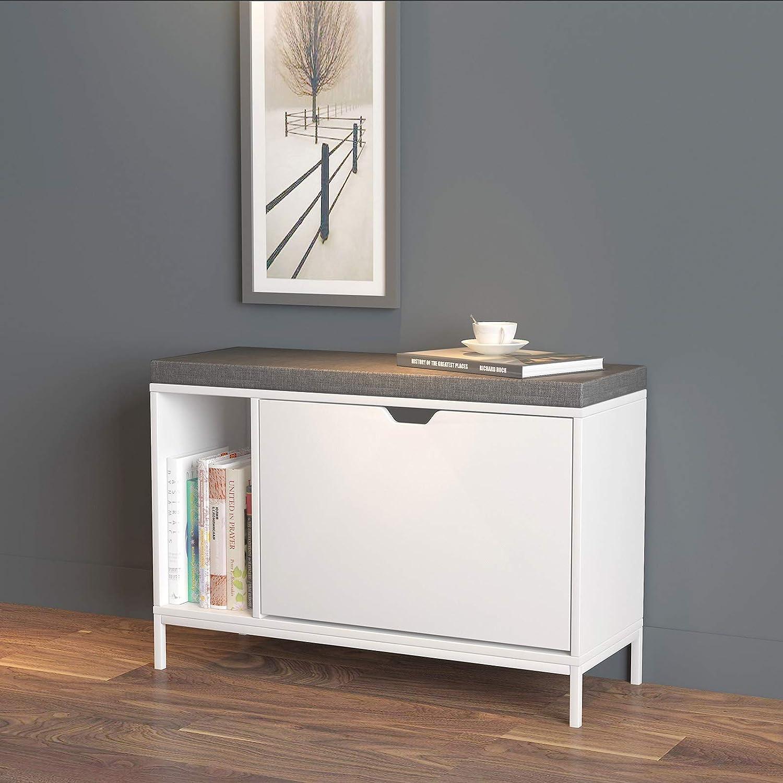 SoBuy FSR20-W Sitzbank mit Stauraum Schuhkipper mit Sitzfläche Schuhbank  mit Zeitschriftenhalter