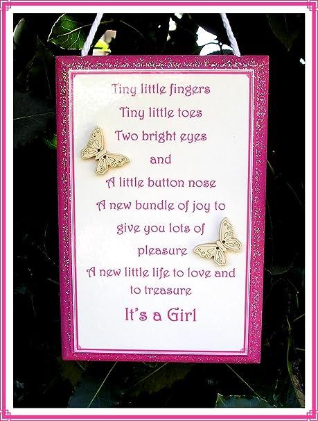 Nueva placa de bebé (es una niña) cartel de placa de madera ...