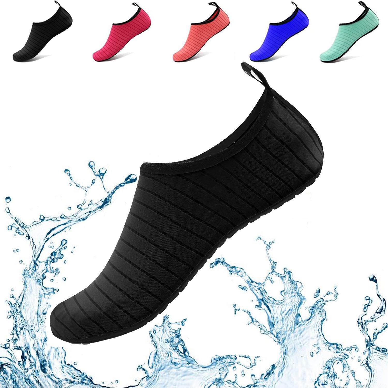 Donppa Water Shoes Women Men Yoga Barefoot Aqua Skin Socks Beach Quick Dry Swim Exercise Surf Pool (US Women 5.5-6.5/Men 4.5-5.5, Black)