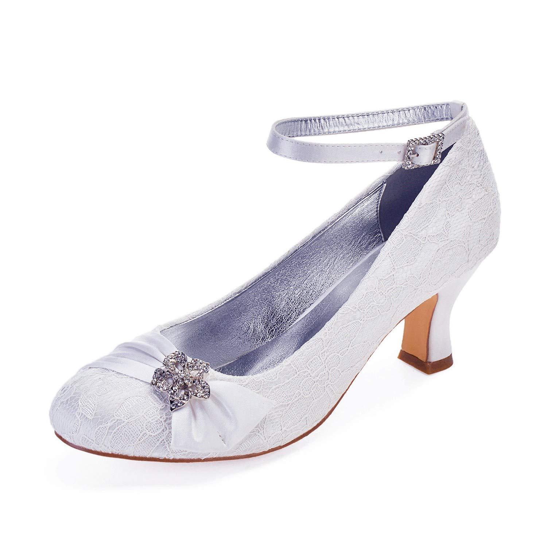 Zxstz Dames Chaussures Dentelle Printemps Printemps Talon Bride Chaussures de de Chaussures Mariage Talon Conique Talon Bas Bout Rond 41|White 90c7f0