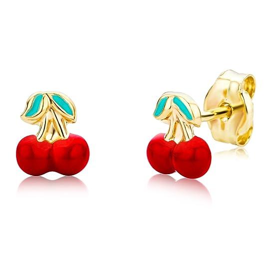 Miore Ohrringe Kinder Mädchen Gelbgold 14 Karat / 585 Gold Ohrstecker mit Kirschen