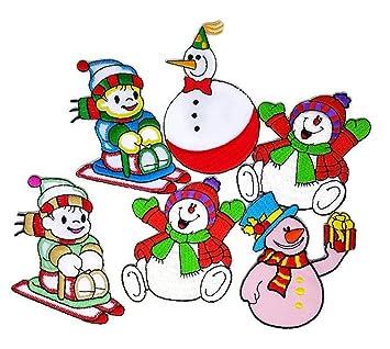 f489a803f3a Set 6 Mix Snowman Set D.I.Y. Cartoon Kids Embroidered Sew Iron on Patch  Cartoon Sew Iron