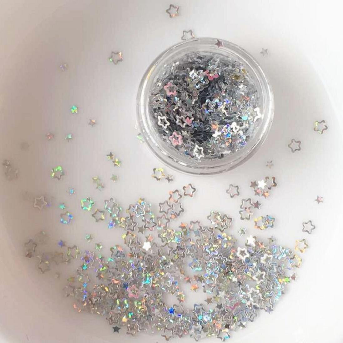 DZT1968 5g/bottle Flake Chunky holographic Glitter Pots Nail Face Eye Shadow Tattoo Festival Body Dance Party (E)
