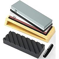 HOSOM Sharpening Stone Set 400/1000, 3000/8000 Grit, Japanese Whetstone Kit Include Flattening Stone and Angle Guide…