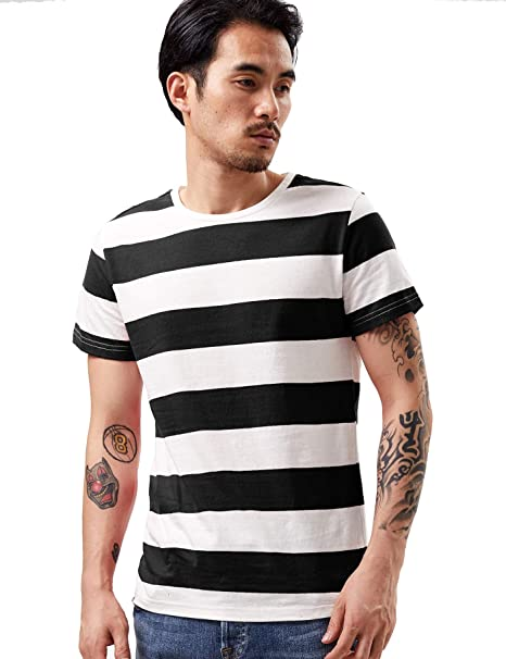88adee8f9 Amazon.com: Zbrandy Wide Striped T Shirt for Men Sailor Tee Red White Black  Navy Stripes Top Basic: Clothing