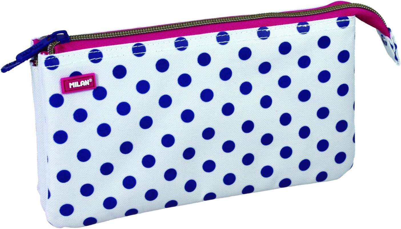 Milan Dots 3 081133DT3 Estuches, 22 cm, Azul/Blanco: Amazon.es: Equipaje
