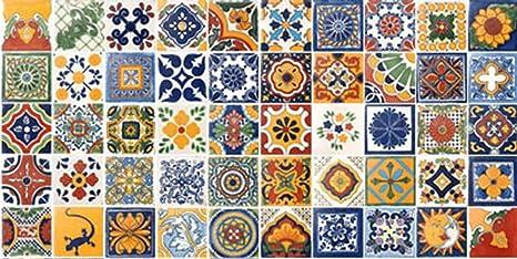 Amazon.com: 50 pintado a mano mexicano de Talavera Azulejos ...