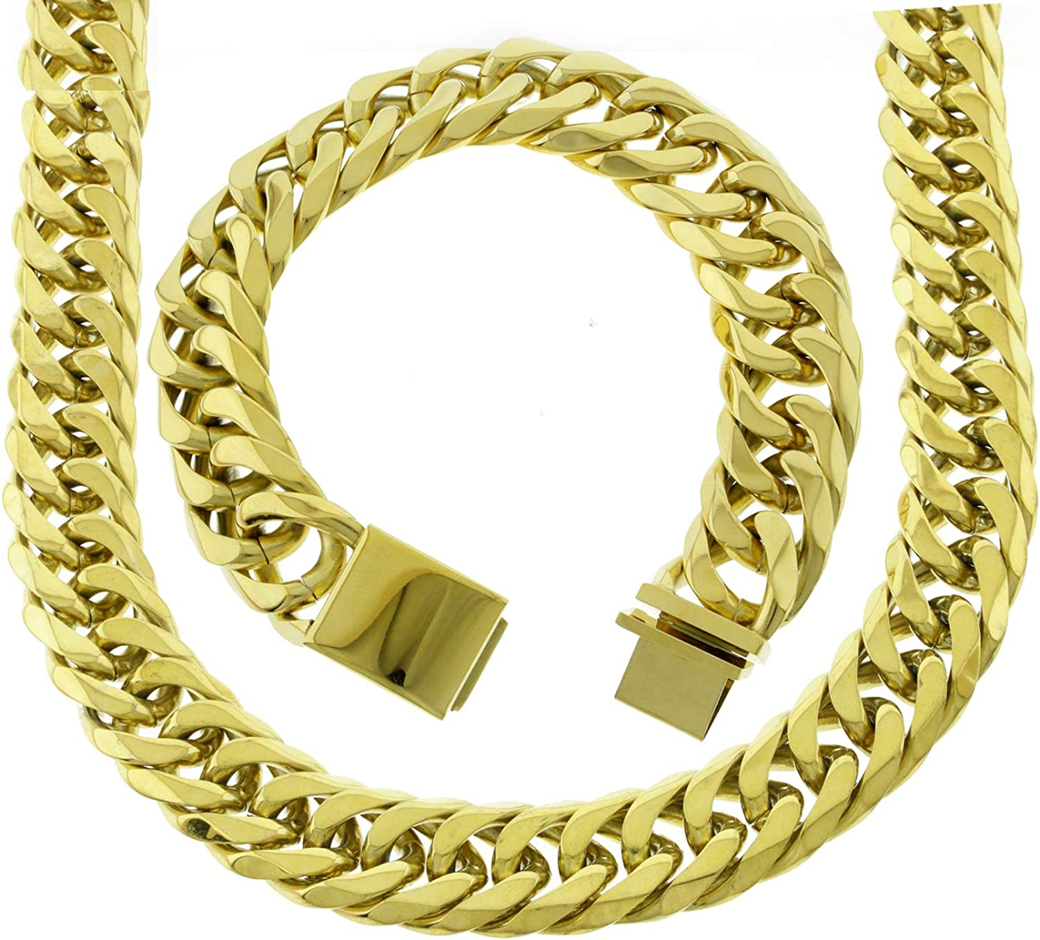 """MEN HEAVY SOLID 14K YELLOW GOLD FINISH CUBAN CURB LINK NECKLACE CHAIN 18MM x 38/"""""""