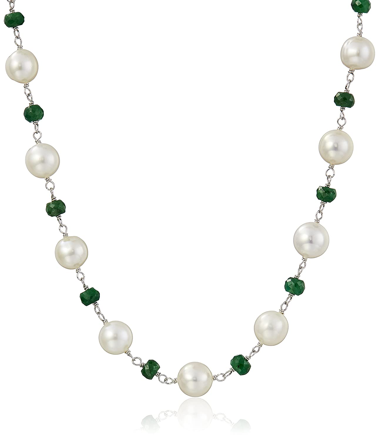 Sterling Silver 8-9mm White Cultured Freshwater Pearl and 4-5mm Link Strand Necklace, 18 18 Amazon Collection ND637-6-01
