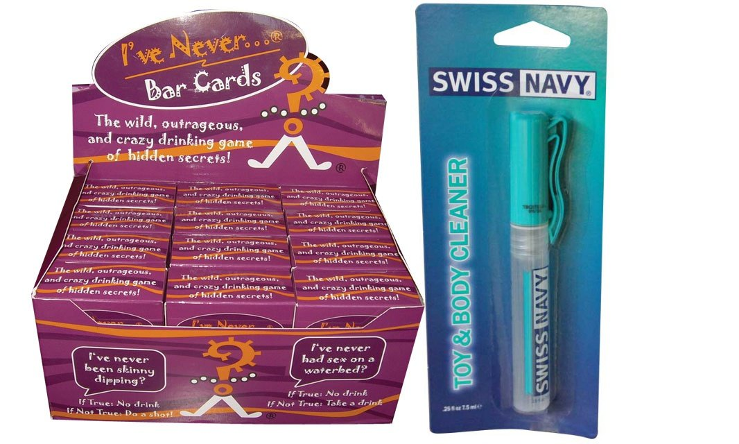 Bundle package 1 Ive Never Bar Card Game (12/DP) AND 1 Swiss Navy Toy & Body Cleaner Pen 7.5ml by Ini,llc