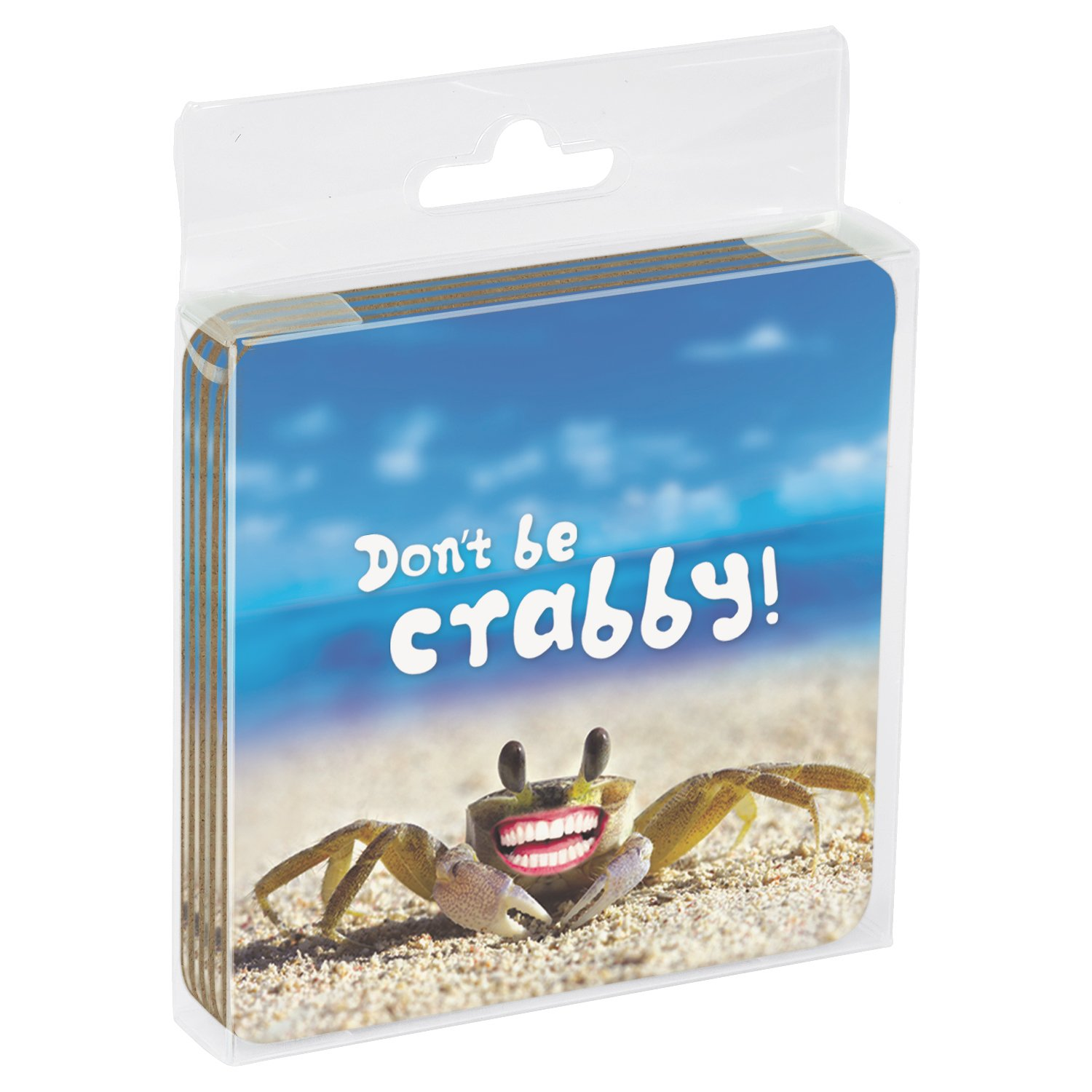 3.75 x 3.75 Inches 16152 Dont Be Crabby Themed Coastal Art Tree-Free Greetings Set Of 4 Cork-Backed Coasters