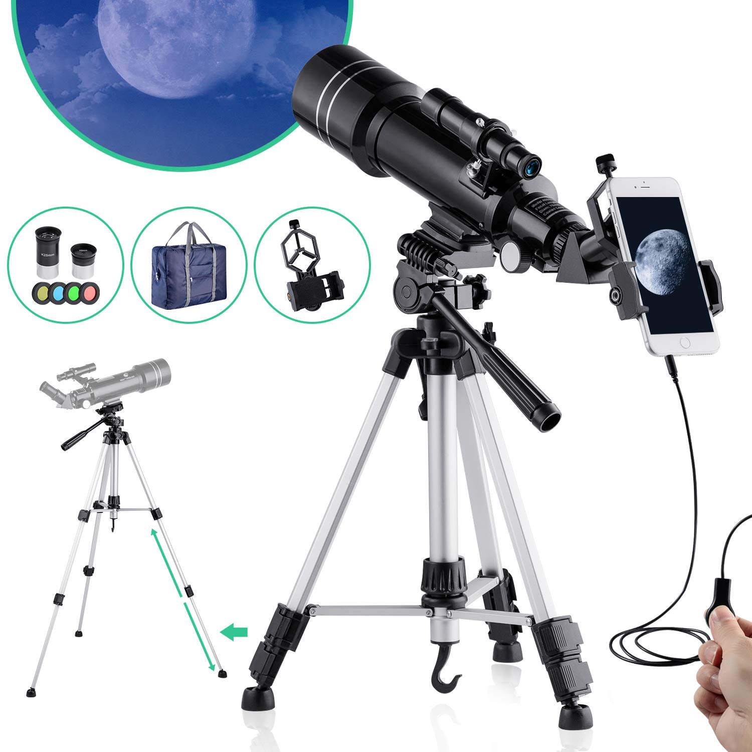 BNISE Telescope for Kids Adults Astronomy Beginners Refractor Telescope 70mm Objective Lens, 400mm Focal Length, with Adjustable Tripod Smartphone Adapter Finder Scope Moon Filter and Carry Bag by BNISE