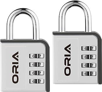 2-Pack ORIA Combination Lock, 4 Digit Padlock