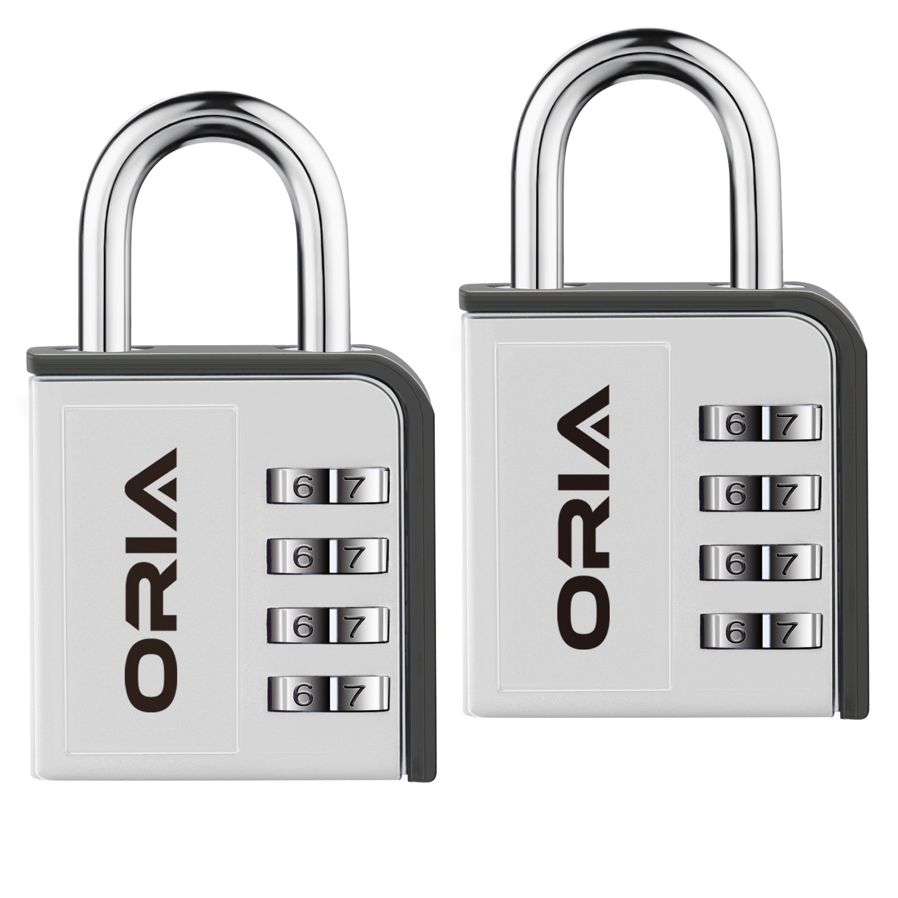 ORIA Combination Lock, 4 Digit Padlock, 2 Pack Combination Lock with Water Proof Design for School, Travel Baggage, Gym, Sport Locker, Toolbox and Storage (Silver/Black)