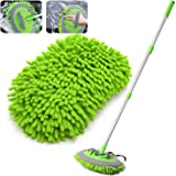 """2-in-1 Car Wash Mop Mitt with 3 Pcs Mop Heads, 45"""" Long Handle Chenille Microfiber Car Wash Dust Brush Extension Pole…"""