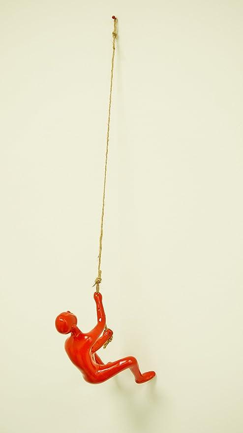Cord Incluse eladitems Colore Rosso Pallido Resina Climbing Man Wall Art Home Decor Scultura x 1PC Rosso Appeso Pin Inclusi