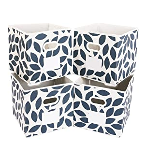 MAX Houser Fabric Storage Bins Cubes Baskets Containers with Dual Plastic Handles for Home Closet Bedroom Drawers Organizers, Flodable, Blue, Set of 4