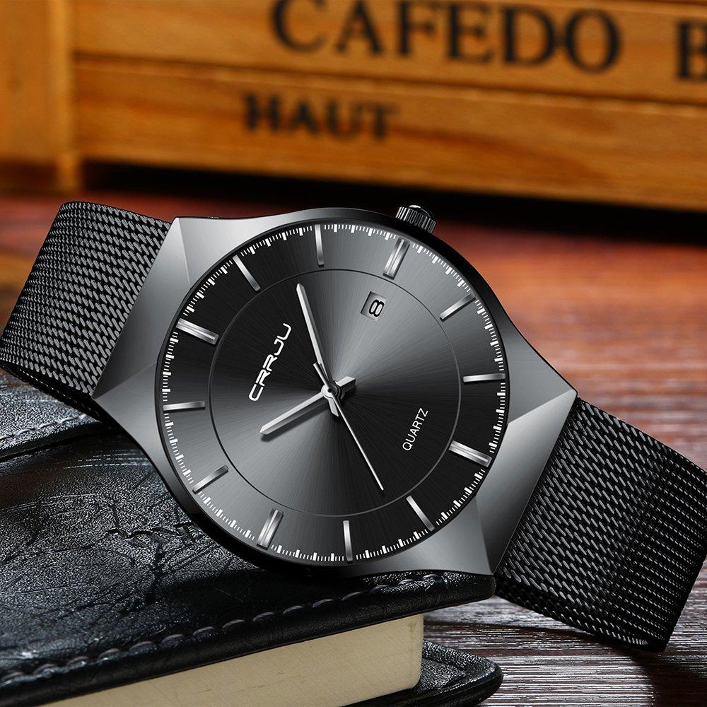 CRRJU Men Business Slim Analog Quartz Watch,Date Black Dial Wrist Watch with Mesh Bracelet Strap by CRRJU (Image #3)