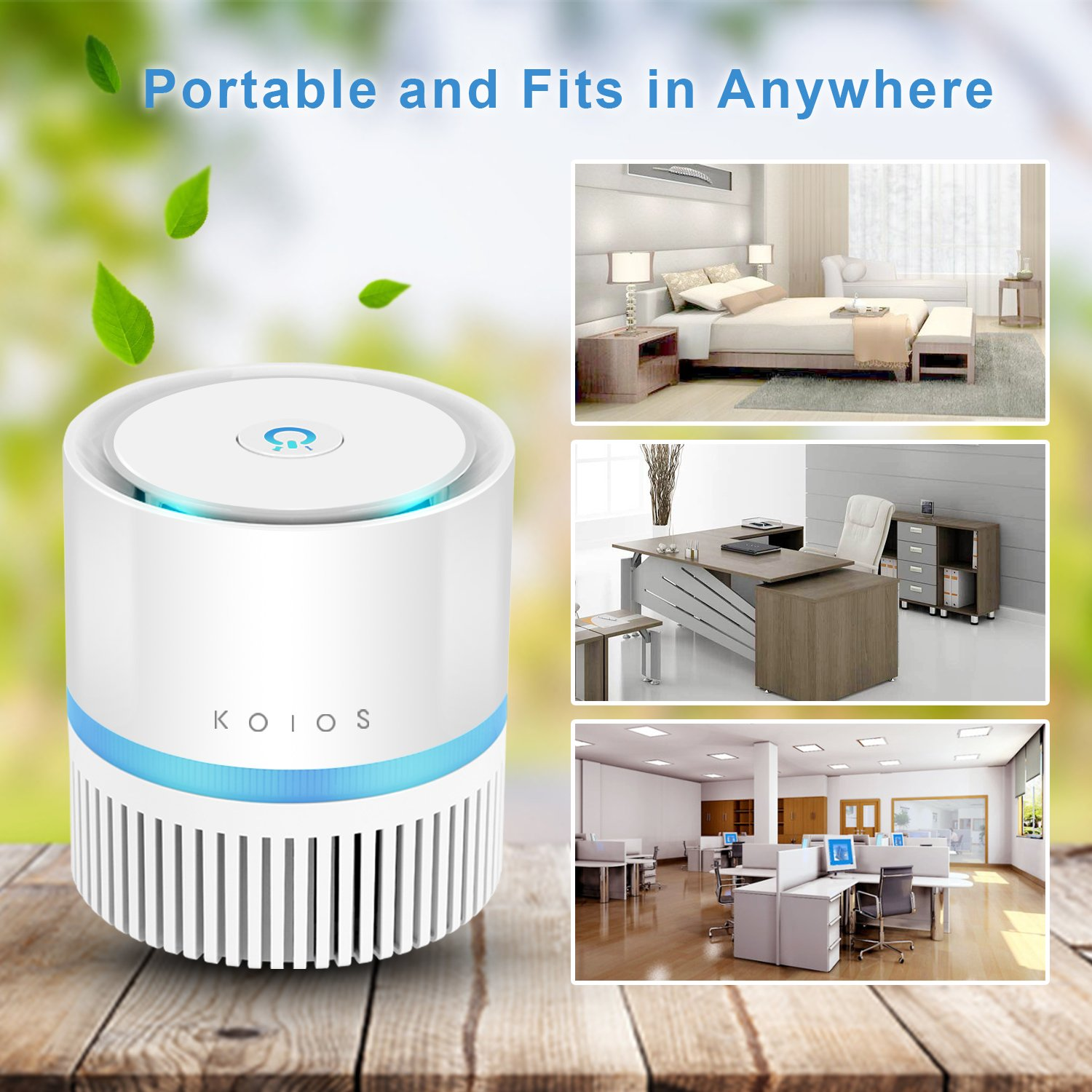Best air filter for allergies and pet dander - Koios Desktop Air Purifier With True Hepa Filter Compact Air Cleaner For Rooms And Offices Reduces Allergens Pollen Dust Mold Pet Dander