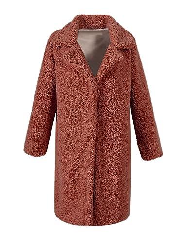 VLUNT Mujer Abrigo de Pelo Chaqueta Fur Coat Invierno Abrigo Sintética de Fox Chaqueta Capa Abrigo L...