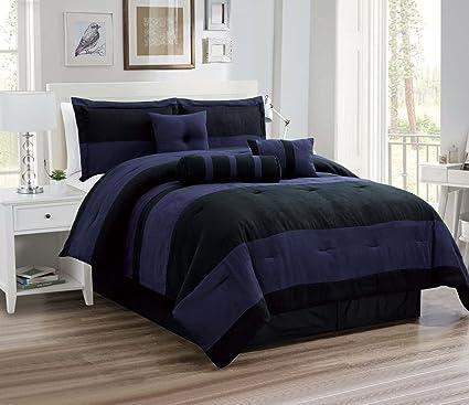 Amazon Com Oversize Navy Blue Black Comforter Set Micro Suede