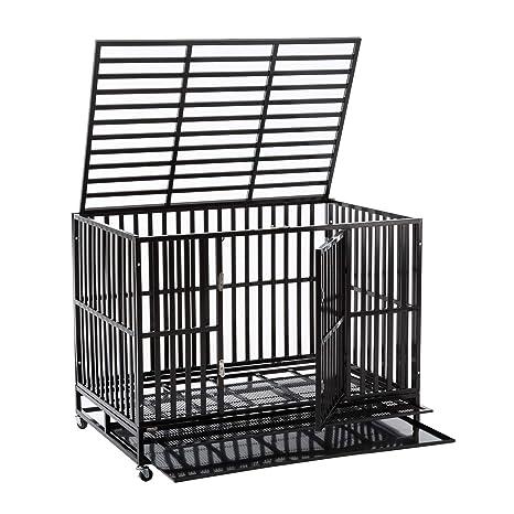 Amazon.com: sliverylake perro Jaula Crate Jaula – Heavy Duty ...