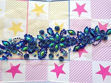 Handmade blu pietre di cristallo di patch sew su strass applique