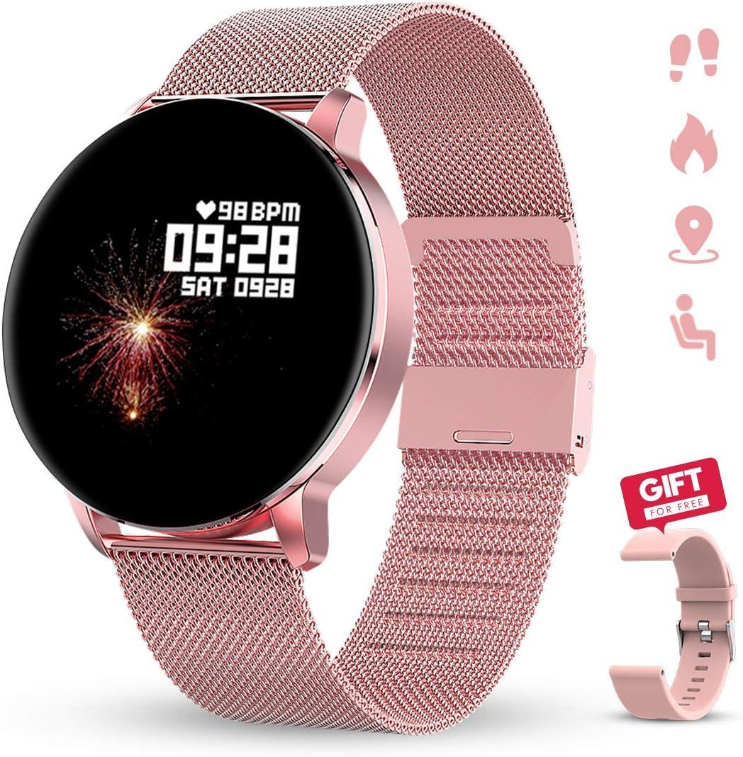 GOKOO Reloj Inteligente Hombres Mujeres Smartwatch Reloj 1.3 Pulgadas Pantalla Completa Táctil Reloj Deportivo IP67 Impermeable Compatible con Android iOS (Rosado)