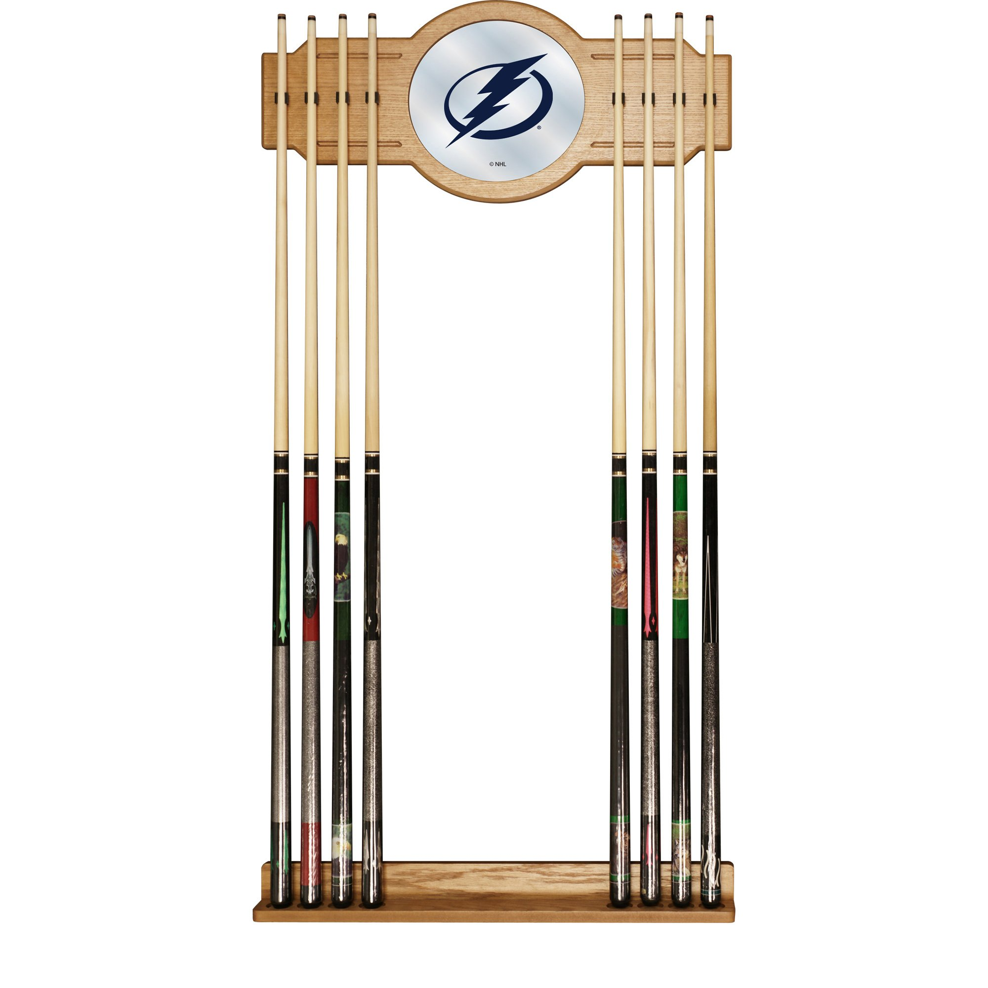 Trademark Gameroom NHL Tampa Bay Lightning Cue Rack with Mirror by Trademark Global