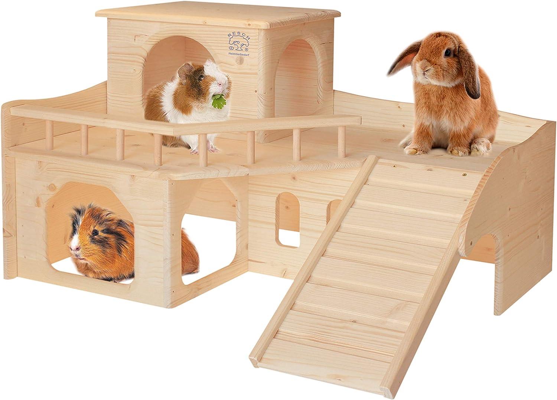 Resch Nr. 36 - Cerradura para conejos (madera maciza de abeto/tres grandes entradas/salidas en la planta, una escalera atornillable y una torre desmontable: Amazon.es: Productos para mascotas