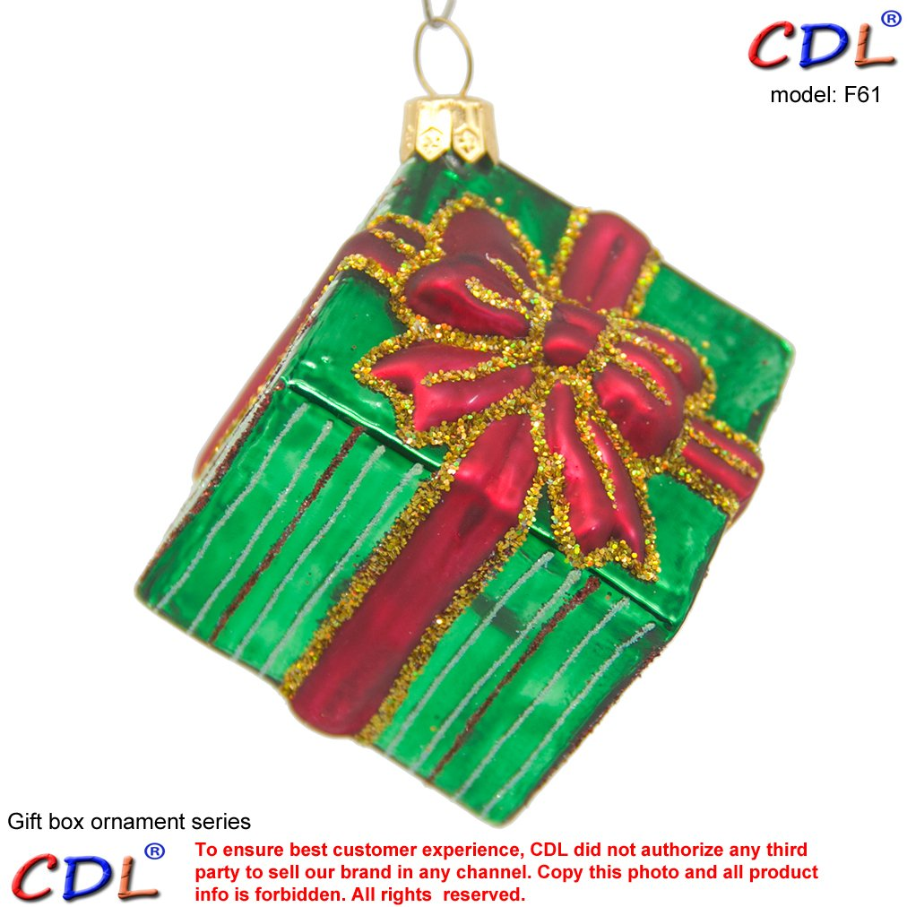 """CDL 3"""" Shiny Green Square Present/Gift Box With Red Band And Bow Decorated With Glitter Stripes Christmas Tree Ornament Mouth Glass Blown Ornaments Gifts For boys F61"""