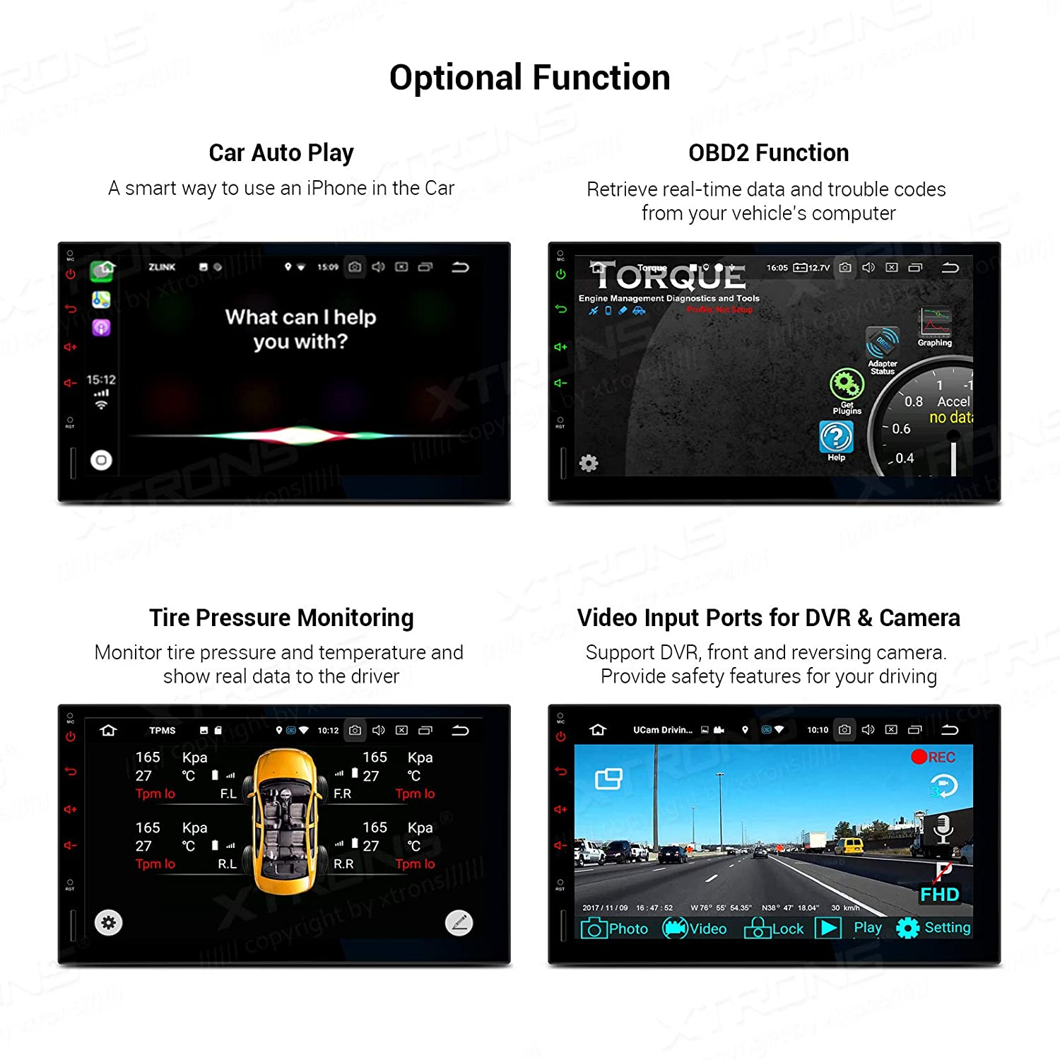 XTRONS Android 9.0 Car Stereo Radio Player Universal Double Din GPS Navigator Octa Core 4G RAM 32G ROM 7 Inch Multi-Touch Screen Head Unit Supports Screen Mirroring Backup Camera OBD2 WiFi DVR TPMS