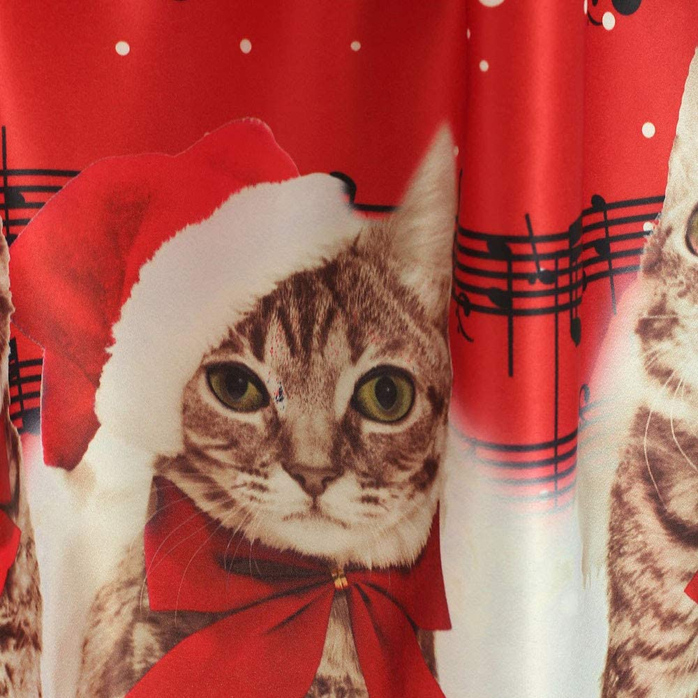 Women Cocktail Casual V-Neck Christmas Cats Musical Notes Print Vintage Flare Dress