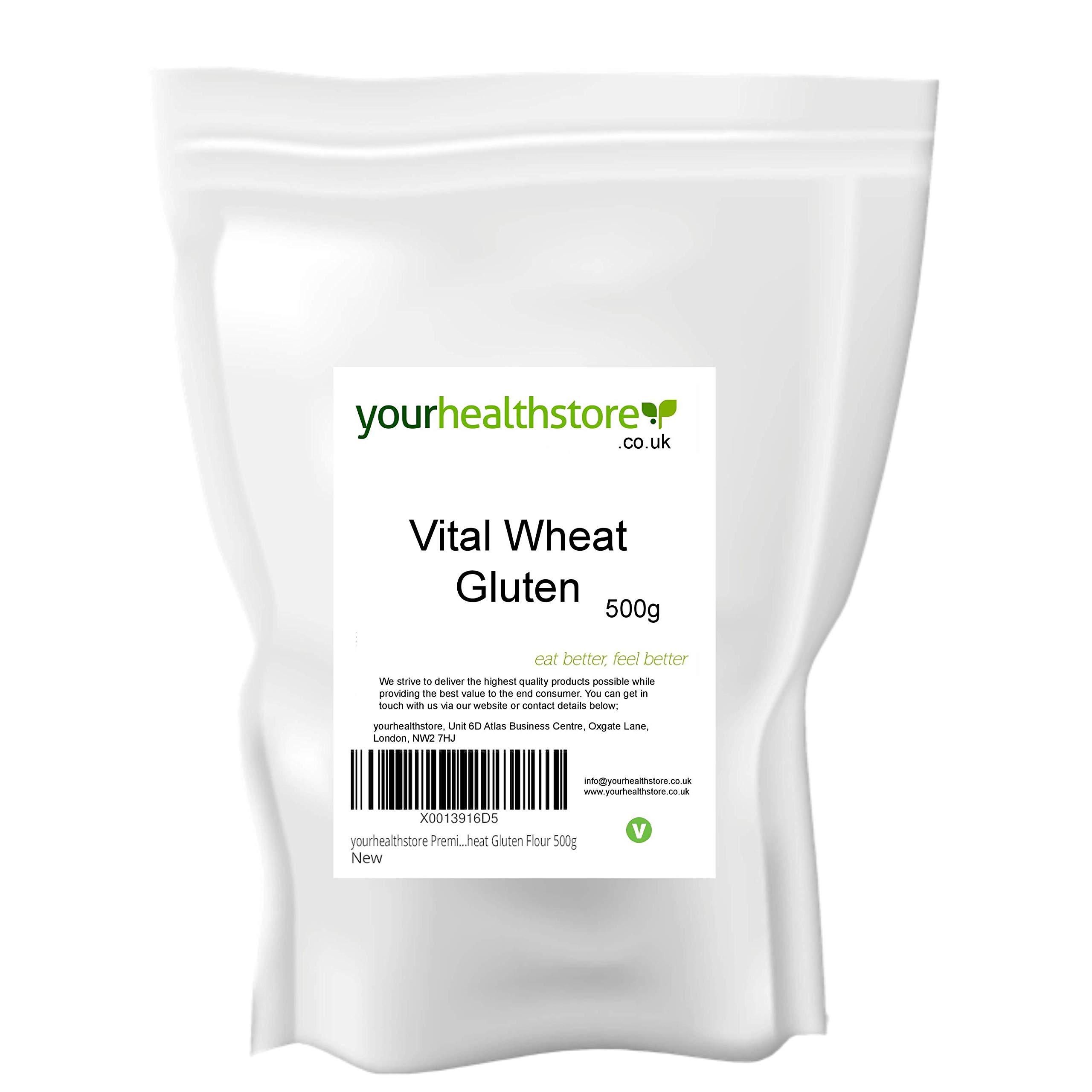 yourhealthstore Premium Vital Wheat Gluten Flour 500g, 87.5% Protein, Non GMO, Vegan (Recyclable Pouch)