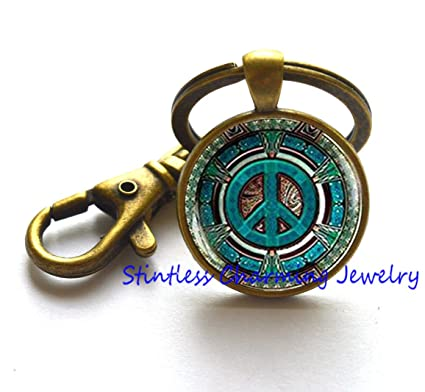 Hippie Keychain, Hippie Key Ring, Hippie jewelry, Peace sign Keychain, peace jewelry, peace Key Ring, mens Keychain, Hippie mens jewelry