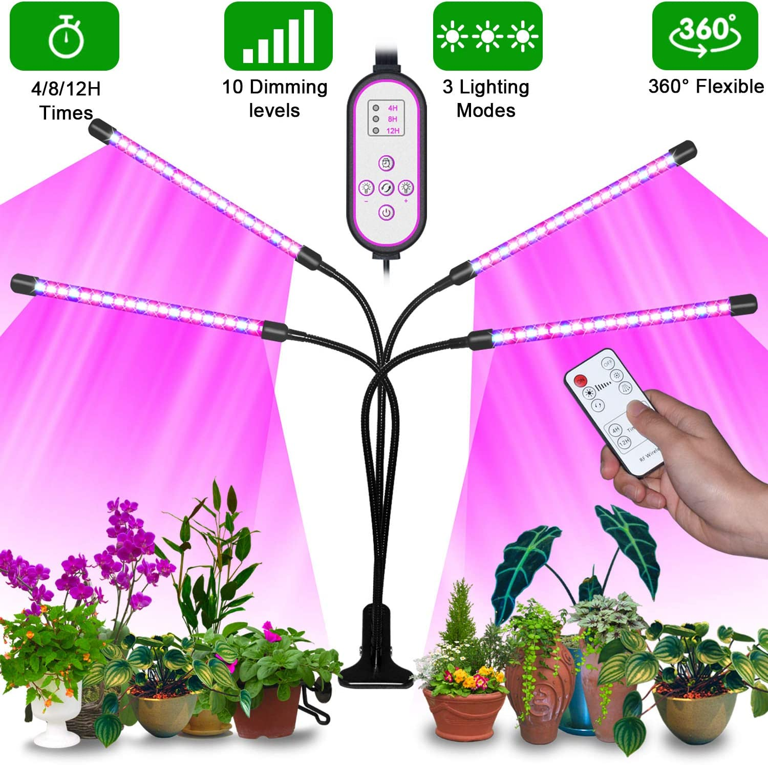 LED Grow Light for Indoor Plants Full Spectrum 80W Timing 80 LEDs Plant Lights 10 Dimmable Levels Plant Lamp with Red+Blue/Red+Blue+Warm White, 4/8/12H Timer, 3 Modes