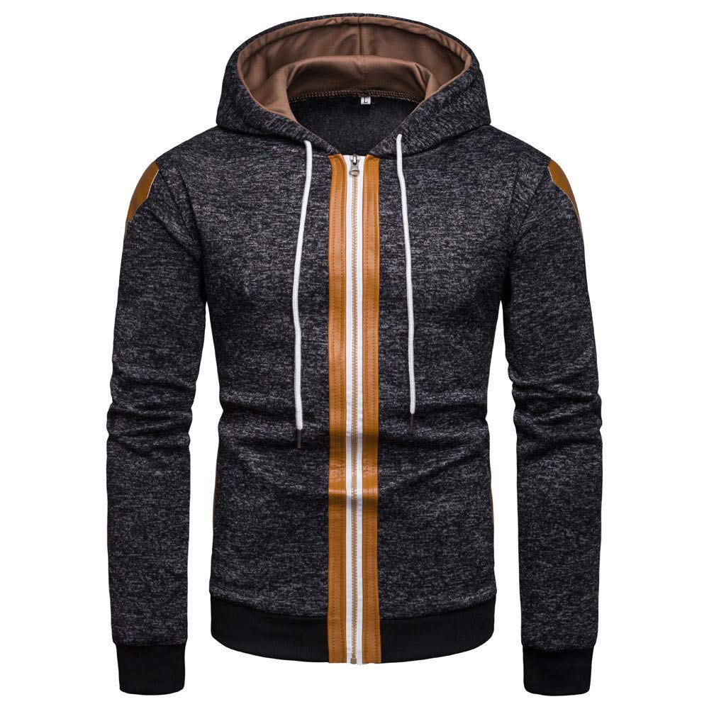 AKIMPE Men's Fall and Winter Color Collision Zipper Sweater Hooded Coat Black L2