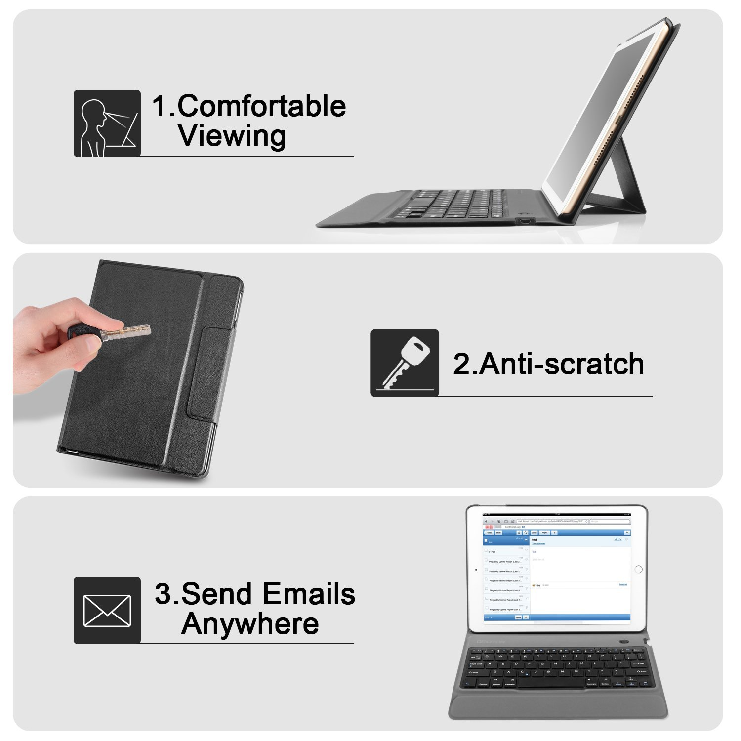 OMOTON New iPad 9.7 2018 & iPad 9.7 2017 Keyboard Case, [Upgraded Version] Ultra-Thin Bluetooth Keyboard Portfolio Case with Stand, PU Leather, and Auto Sleep/Wake for Apple iPad 9.7 2017 2018 Tablet by OMOTON (Image #8)