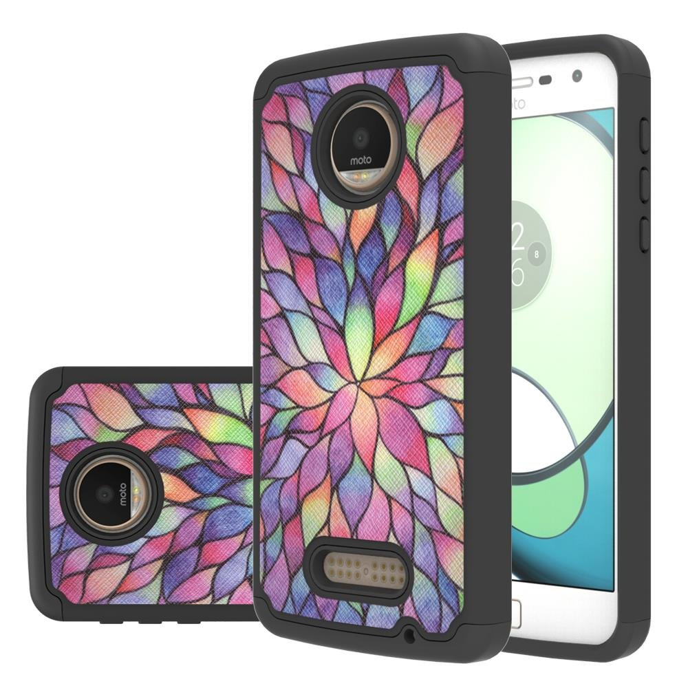 Moto Z Play Droid Case ,LEEGU [Drop Protection] [Shock Absorption] Dual Layer Heavy Duty Protective Silicone Plastic Cover rugged Armor Case for Motorola Moto Z Play Droid - Colorful Lotus by LEEGU