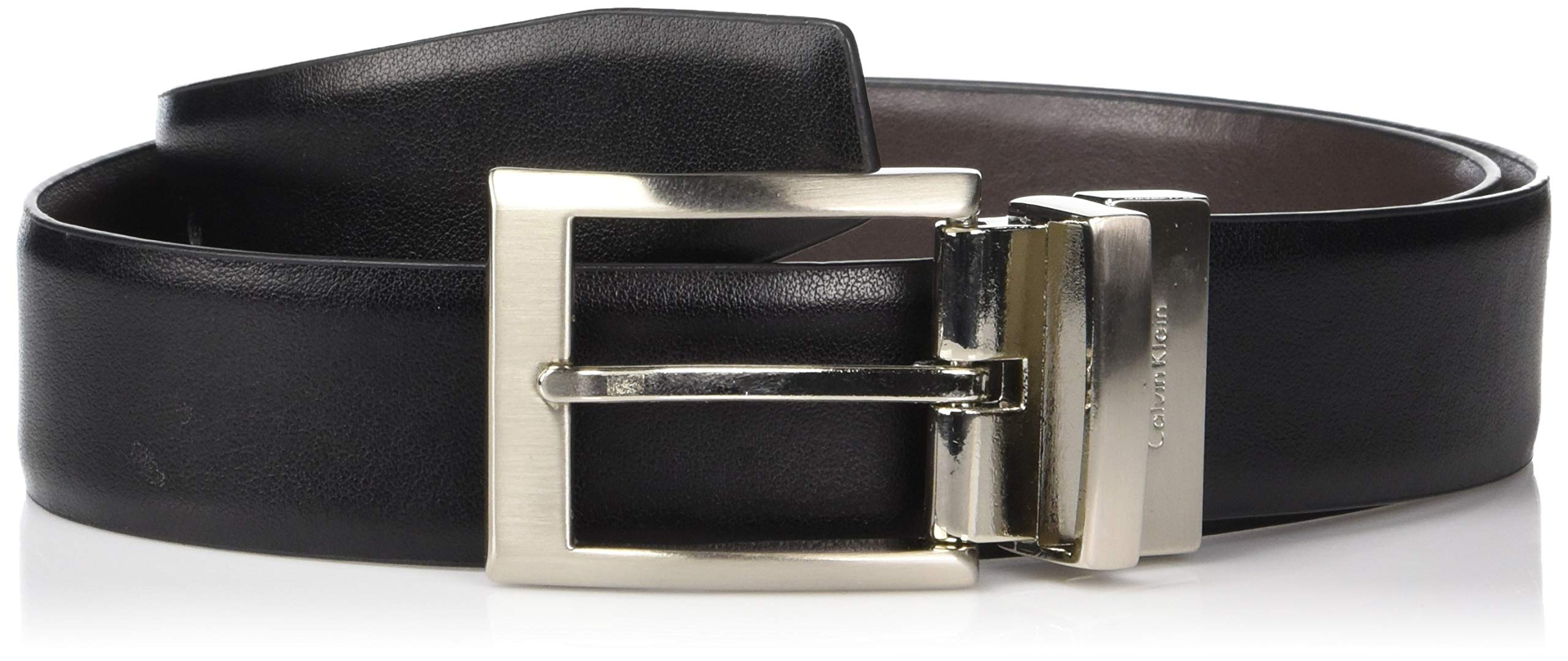 Calvin Klein Men's Smooth Leather Reversible Belt, Black/Brown, 34