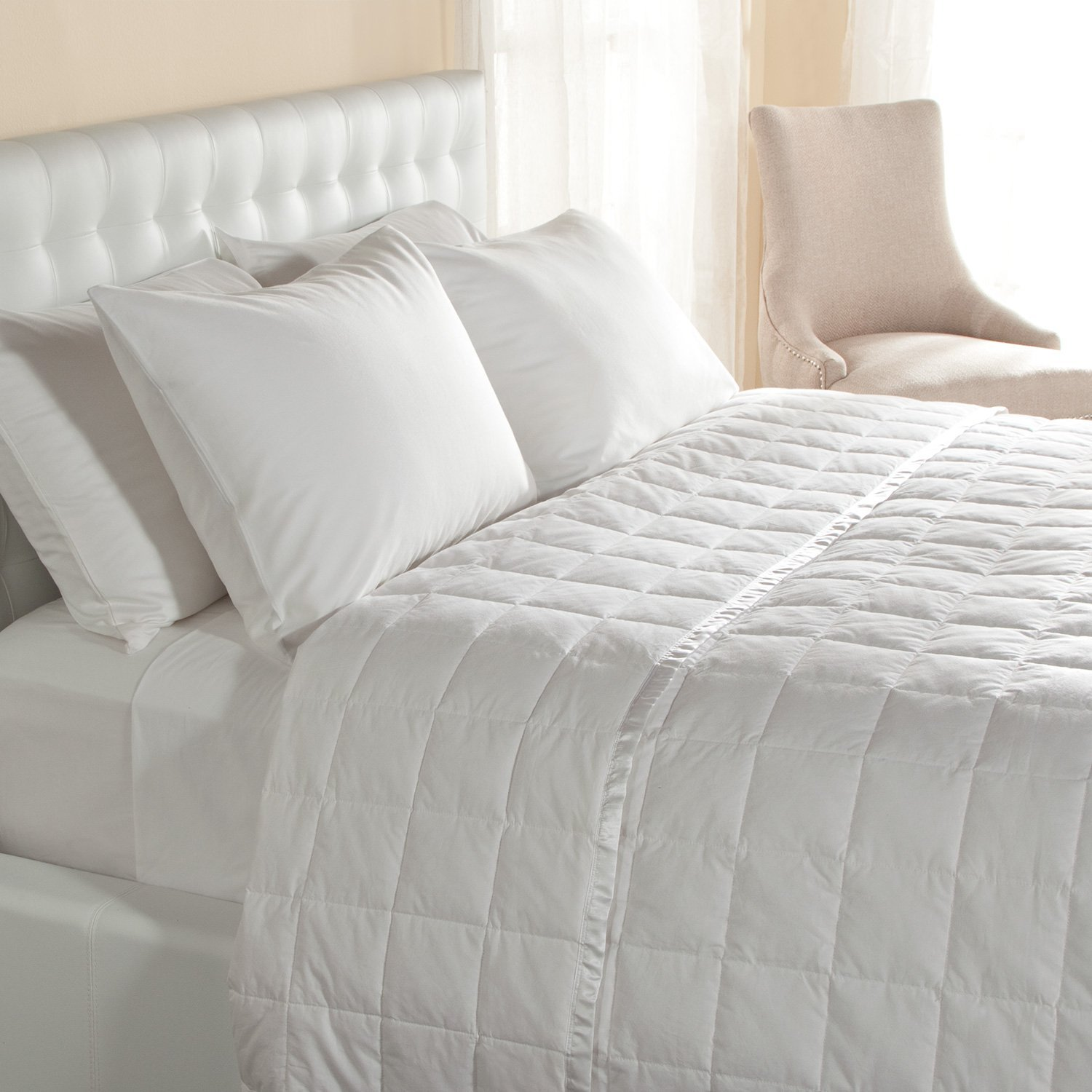 Hypoallergenic 230 TC Oversized King Down Blanket With Satin Trim - Light Weight - Perfect For Summer - Available In White & Ivory 113'' x 104'' (Oversized King, White)