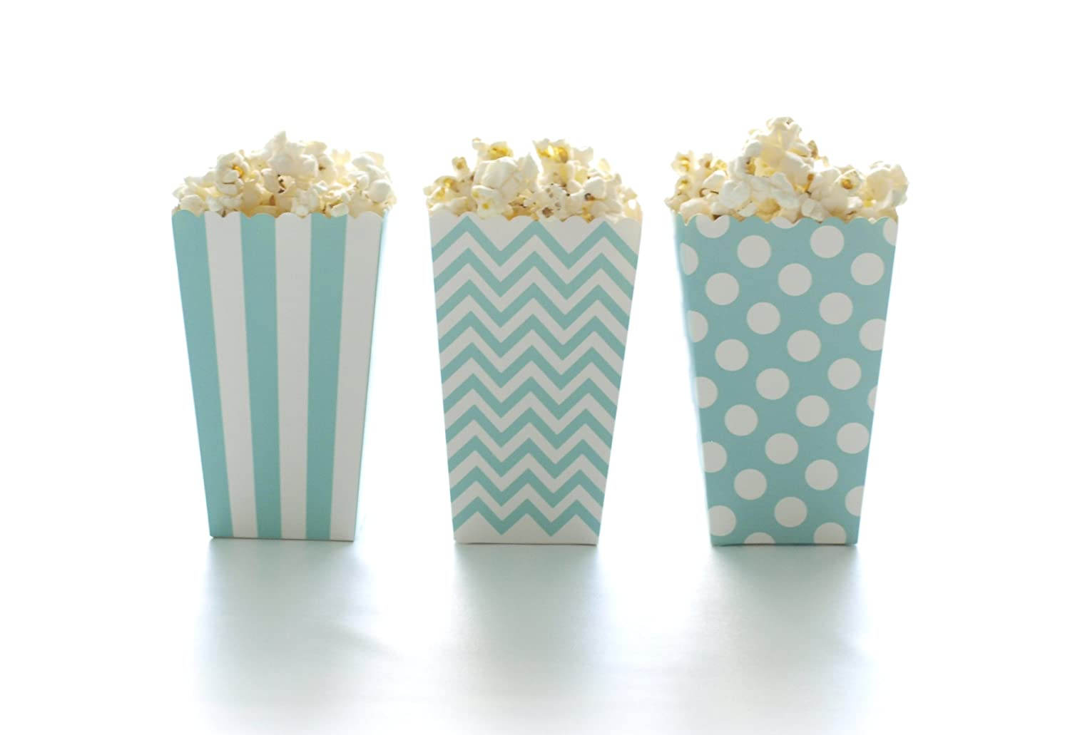 Amazon.com: Popcorn Boxes, Aqua Blue Design Trio (36 Pack) - Polka ...