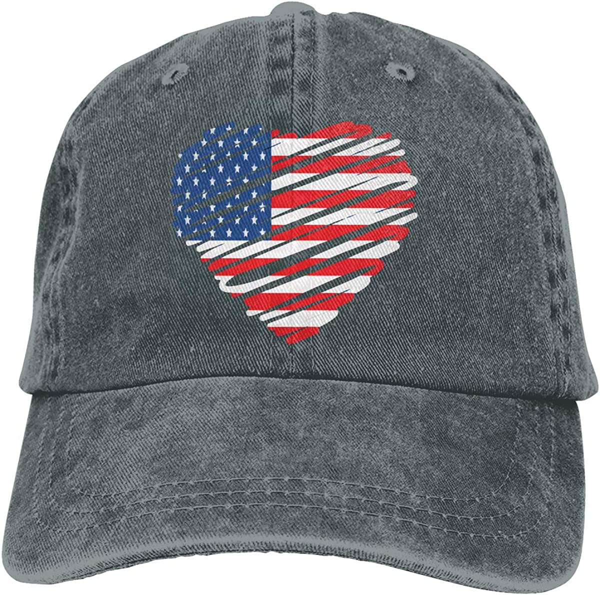 American Flag Heart Adult Personalize Cowboy Hat Sun Hat Adjustable Baseball Cap