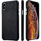 iPhone X/XS Case, TOOVREN Handmade Premium Genuine Leather Protective Ultra Thin Phone Cover with Supporting Wireless Charging for 5.8 inch Apple iPhone Xs 2018 X/10 2017 Black