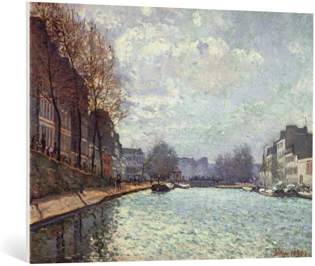Kunst für Alle Cuadro en Lienzo: Alfred Sisley Vue du Canal Saint-Martin Paris - Impresión artística, Lienzo en Bastidor, 100x75 cm
