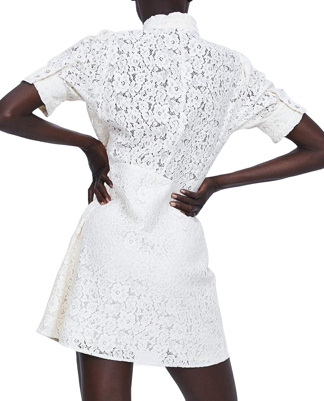 Zara 4786/061 Vestido de Encaje con Botones de estrás para ...
