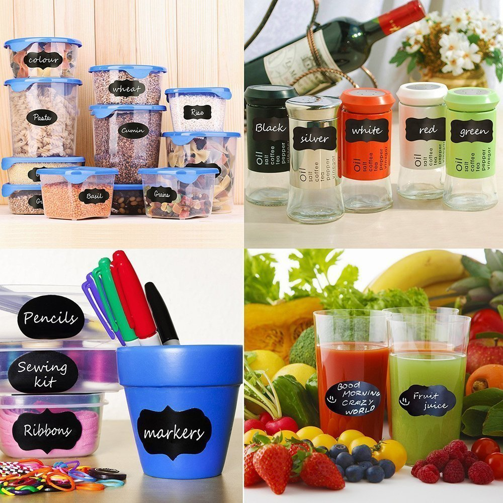 Mason Jars Labels, 60 Chalkboard Label Stickers - Canisters Labels - Chalk Makers Erasable by Co Glow (Image #4)